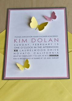 Pink and Yellow Baby Shower Girl Invitations Butterflies