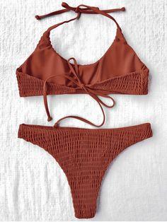 8d4ac8adb5 Padded Smocked Bralette Bikini Set