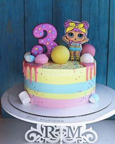 Image may contain: food Birthday Party Snacks, Funny Birthday Cakes, Homemade Birthday Cakes, Birthday Cake Girls, Pretty Cakes, Cute Cakes, Cake Cookies, Cupcake Cakes, Lol Doll Cake