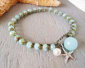 "Beachy crochet bracelet -slashKnots Stackers ""Neptune's Treasures"" seafoam opal, sterling silver starfish, pearl, quartz, beach surfer"