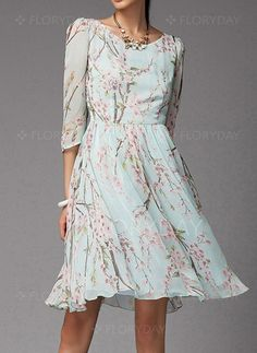 Dresses - $128.31 - Chiffon Floral Half Sleeve Above Knee Vintage Dresses…