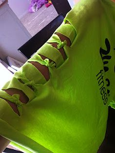 how to make a fun and cute zumba shirt... looks awesome... Cut the sleeves differently but it still looks good.