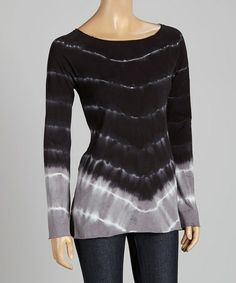 Love this Black Chevron Tie-Dye Long-Sleeve Top by Pink Lotus on #zulily! #zulilyfinds