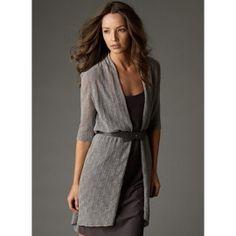 Eileen Fisher diamond wool lace long cardigan