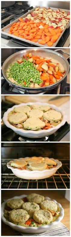 Chicken & Chive Biscuits Pot Pie Recipe