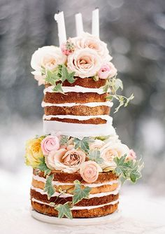 Naked cakes are all the rage and look especially great at outdoor weddings. They're also inexpensive — as much as $3 less per person than buttercream or fondant. For a 100-person wedding, that's $300 saved. — Melody Brandon, Sweet & Saucy Shop, Long Beach, CA