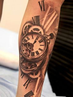 3D photographic style Clock tattoo on sleeve. classical and artsy!