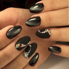 Gorgeous 56 Most Eye Catching Beautiful Black Nail Art Ideas https://stiliuse.com/56-most-eye-catching-beautiful-black-nail-art-ideas #beautynails