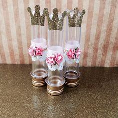 Tubete com aplique de florzinha e coroa para Festa Princesas | #daJuuh