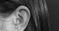 Tattoo Artist: Michelle Santana. Tags: categories, Minimalist, Single Needle, Astronomy, Stars. Body parts: Ear.