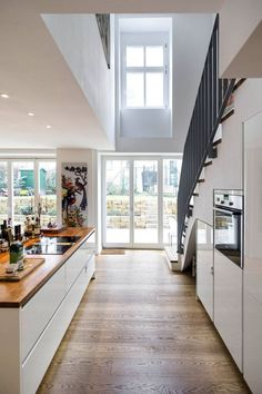 Bright and airy home. Modern Stairs airy bright home Kitchen Interior, Interior Design Living Room, Kitchen Decor, Kitchen Under Stairs, Bright Homes, Simple House, Ideal Home, Home And Living, Home Kitchens