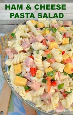 Simple yet popular delicious Ham and Cheese Pasta Salad with just enough dressing to make it tasty enough for seconds (or thirds ! ) Great way to use up leftover ham as well ! Ham Salad Recipes, Pasta Recipes, Healthy Recipes, Spinach Recipes, Healthy Dishes, Recipes Dinner, Potato Recipes, Casserole Recipes, Healthy Meals