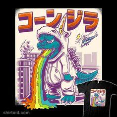 Shop unicorn godzilla t-shirts designed by polkadothero as well as other godzilla merchandise at TeePublic. Sick Drawings, Art Drawings, Unicorn Tapestries, Tapestry, Robot Concept Art, Graffiti, Cultura Pop, Grafik Design, Japanese Art
