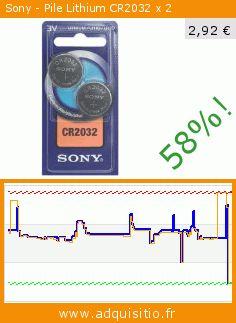 Sony - Pile Lithium CR2032 x 2 (Appareils électroniques). Réduction de 58%! Prix actuel 2,92 €, l'ancien prix était de 6,97 €. https://www.adquisitio.fr/sony/pile-lithium-cr2032-x-2