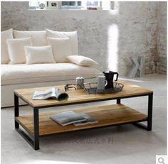 Goedkope Retro doen de oude smeedijzeren salontafel rechthoekige rustproof…