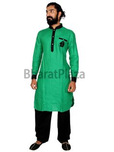 Captivating green color linen kurta with contrast patches on collar, placket, cuffs. Item Code: SKB1010P  http://www.bharatplaza.com/new-arrivals/kurta-pyjamas.html