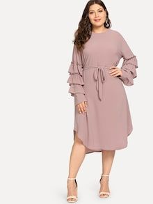 Shop Plus Layered Sleeve Beaded Dress online. SHEIN offers Plus Layered Sleeve Beaded Dress & more to fit your fashionable needs. Natural Clothing, Pearl Dress, Bardot Dress, Moda Plus Size, Dress P, Dress Clothes, Ruffle Dress, Types Of Sleeves, Plus Size Women