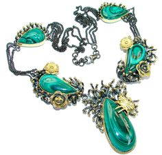$266.35 Great+Beauty+Genuine++Malachite+Gold+rhodium+plated+over+Sterling+Silver+handmade+necklace at www.SilverRushStyle.com #necklace #handmade #jewelry #silver #malachite