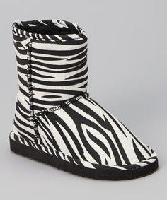 Another great find on #zulily! Black & White Zebra Boot by Chatz by Chatties #zulilyfinds