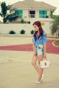 No look camisa + short    por Letícia Oliveira | Blog da Lê       - http://modatrade.com.br/no-look-camisa-short
