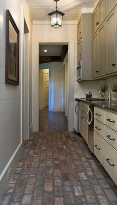 White shiplap kitchen google search great ideas diy for Brick flooring prices