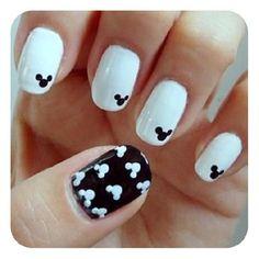 Black & White Disney Nails