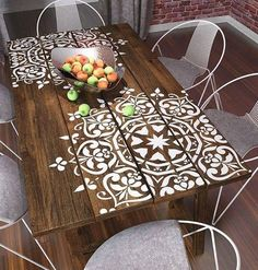 Wooden table with painted lace motif ...