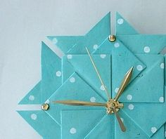 Birthday Gift  Aqua Polka Dot Origami Clock  Large by Giftedpapers