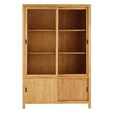 Credenza a 4 ante in legno massello di frassino e vetro temprato | Maisons du Monde