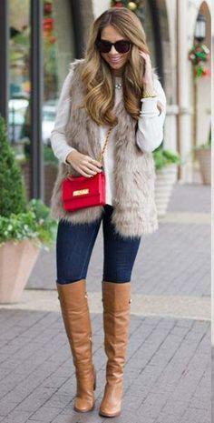 Mid-Length Brown Faux Fur Vest4