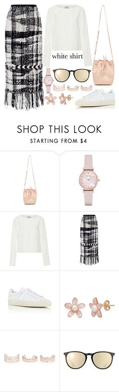 """Wardrobe Staples: The White Shirt"" by joslynaurora ❤ liked on Polyvore featuring Mansur Gavriel, Emporio Armani, Frame, Oscar de la Renta, Common Projects, New Look, Ray-Ban, shirt, blouse and sneakers"