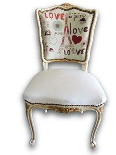 Silla Luis XV decapado tela de diseño Interesante tapizados diferente asiento y respaldo