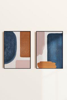 Orange Color Palettes, Blue Colour Palette, Navy Colour, Mid Century Modern Art, Mid Century Art, Graphic Art Prints, Poster Prints, Graphic Design, Rust Color Schemes