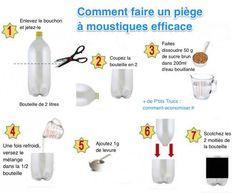 Ce piège va attirer les moustiques grâce aux gaz de fermentation du sucre et de la levure. Puis, une fois à l'intérieur de la bouteille, les moustiques vont tomber dans le sirop et mourir dans le piège.  Découvrez l'astuce ici : http://www.comment-economiser.fr/piege-a-moustiques-fait-maison.html?utm_content=bufferca896&utm_medium=social&utm_source=pinterest.com&utm_campaign=buffer