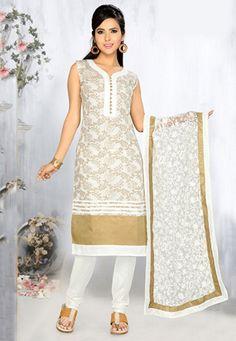 Off White Art Silk Jacquard Readymade Anarkali Churidar Kameez