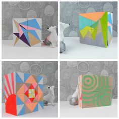 Ornament Geometric Neon Art Blocks x 4. £35.50, via Etsy. ||  Ornament Geometric Neon Art Blocks x 4  These modern blocks offer multiple display options to bring a little touch of neon color to your home or a great housewarming gift.    Each block measures 44mm  Made from Birch Wood, buffed and meticulously hand painted and sealed in a satin hard wearing varnish.