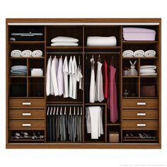 Guarda-roupa Plata 4 Portas de Correr com Espelho 100% MDF Flex Color Reversível Nogueira/Branco/Nogueira - Móveis Europa | Lojas KD