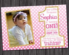 Pink Ombre and Gold First Birthday Invitation  by PuggyPrints