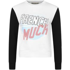 être cécile French Much Slim Fit Sweatshirt (507355 PYG) ❤ liked on Polyvore featuring tops, hoodies, sweatshirts, fleece lined sweatshirt, slimming tops, white crop top, white sweatshirt and cut-out crop tops