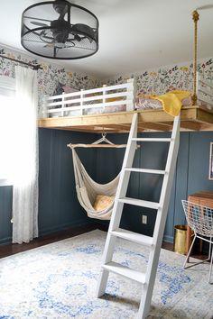 Room Ideas Bedroom, Small Room Bedroom, Bedroom Loft, Loft Room, Loft Bed Room Ideas, Hammock In Bedroom, Loft Wall, Diy Projects For Bedroom, Men Bedroom