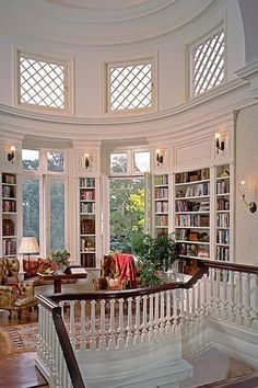 I love this room! I want interior design like this on my home. The room shape is amazing. And the windows are perfect! It feels royal! Dream Home Design, My Dream Home, House Design, Home Libraries, Aesthetic Rooms, Dream Rooms, My New Room, House Rooms, Future House