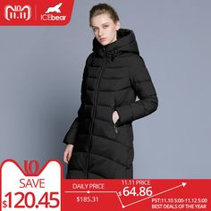 ICEbear 2018 new high quality winter coat women hooded windproof jacket long women's clothing high-grade metal zipper Click picture for details