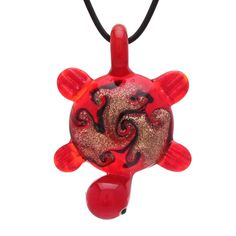 "Bleek2sheek Murano-inspired Glass Red ""Tribal Turtle"" Pendant Necklace"