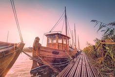 Zeesboot am Hafen von Wieck (Darß / Ostsee), Bodden, Boot, Dämmerung, Fischland, Hafen, Küste, Ostsee, Schilf, Sonnenaufgang, Wieck