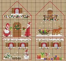 Resultado de imagen para casitas de navidad en punto de cruz