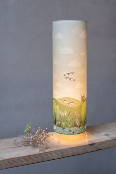 Landscape inspired lampshade, this handmade lampshades is a freestanding table lamp. Unique designs by that will illuminate your home. Inspired by nature and the beauty that surrounds us in the landscape and our wildlife animals Handmade Lampshades, Living Off The Land, Landscape Fabric, Lovers Art, Pillar Candles, Fabric Design, Castle, Clouds, Bespoke