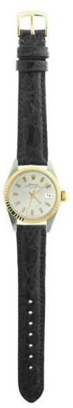 Rolex Datejust 6917 Gold and Steel Black Leather White Stick Dial Automatic 26mm Womens Watch