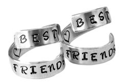 Hand stamped with: 'BEST FRIENDS' Two Aluminum twist rings are hand stamped with those 2 wonderful words. This set of BFF, mom or sister rings will let them know how much you care. Includes a stamped