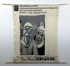 andrew Salomone knitting on hacked 930 KM bandits-tapestry-installed