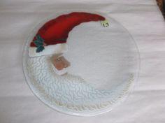 "Large 13"" Peggy Karr St. Nick Fused Art Glass Platter, Crescent Santa, EUC #PeggyKarr"
